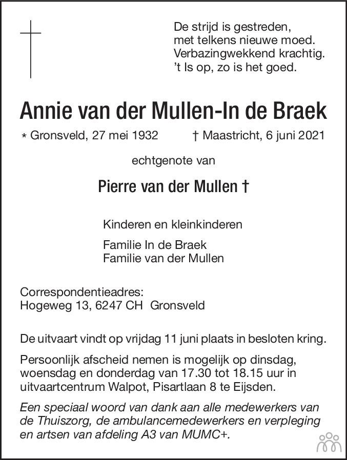 Overlijdensbericht van Annie van der Mullen-In de Braek in De Limburger