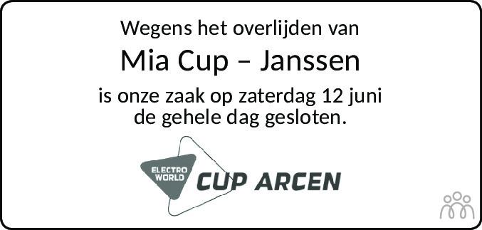 Overlijdensbericht van Mia Cup-Janssen in De Limburger