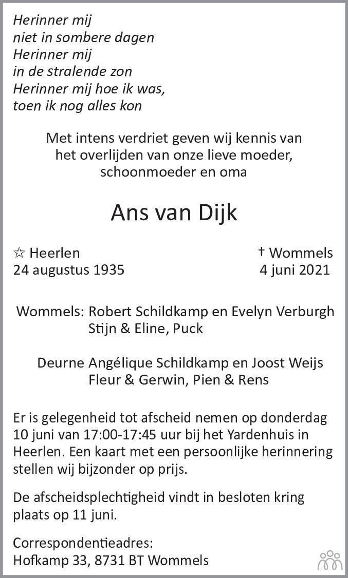Overlijdensbericht van Ans van Dijk in De Limburger