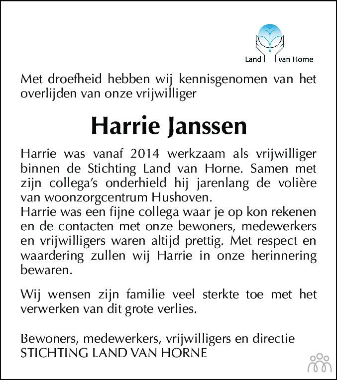 Overlijdensbericht van Harrie Janssen in De Limburger