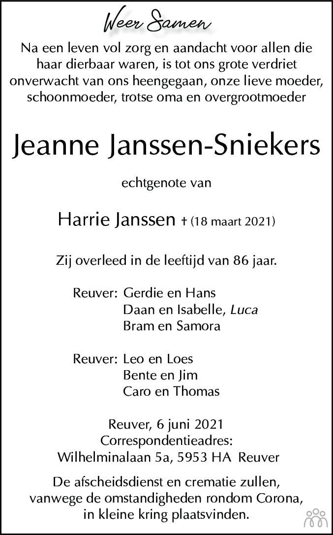 Overlijdensbericht van Jeanne Janssen-Sniekers in De Limburger