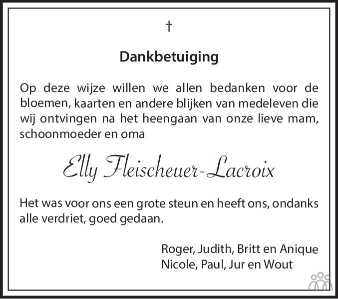 Overlijdensbericht van Elly Fleischeuer-Lacroix in De Limburger