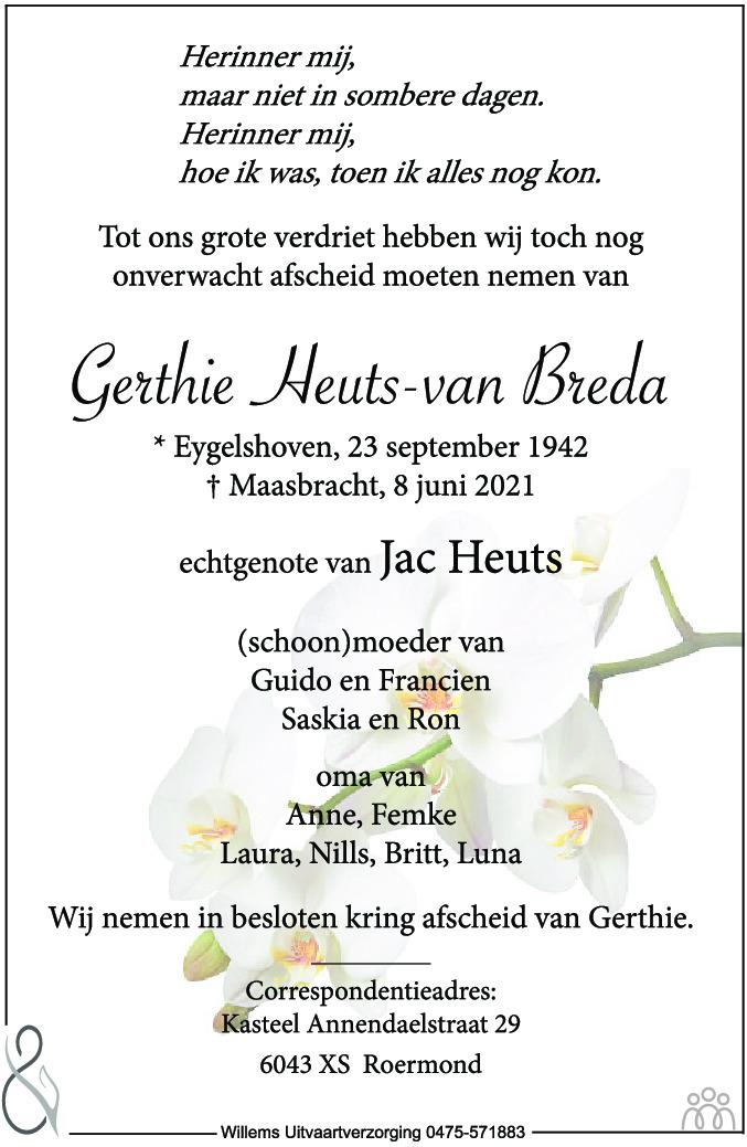 Overlijdensbericht van Gerthie Heuts-van Breda in De Limburger