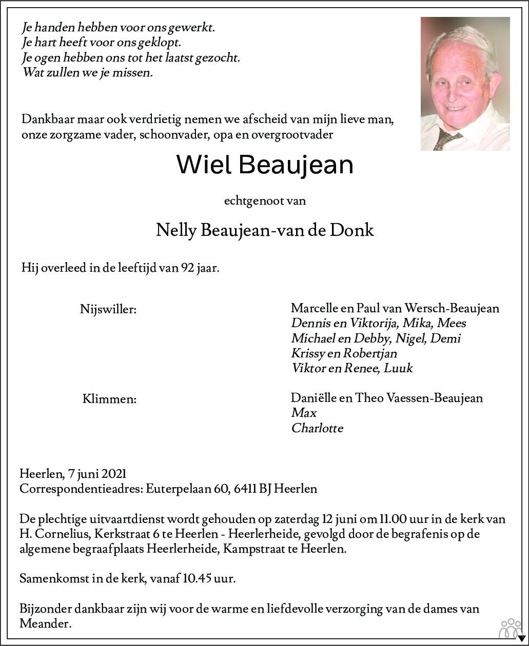 Overlijdensbericht van Wiel Beaujean in De Limburger