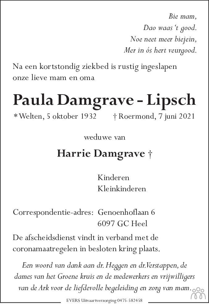 Overlijdensbericht van Paula Damgrave-Lipsch in De Limburger