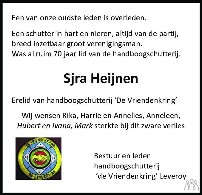 Overlijdensbericht van Sjra Heijnen in De Limburger