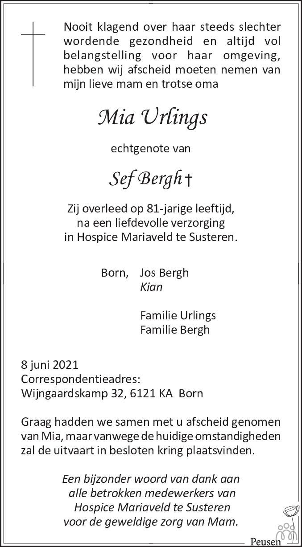 Overlijdensbericht van Mia Bergh-Urlings in De Limburger