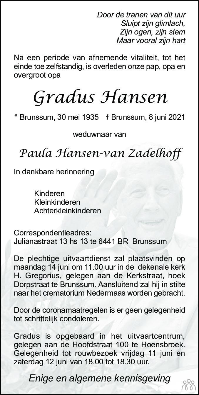 Overlijdensbericht van Gradus Hansen in De Limburger