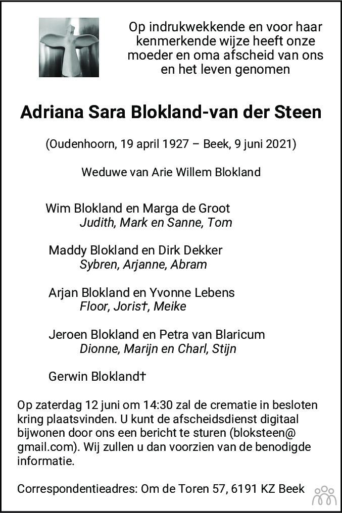 Overlijdensbericht van Adriana Sara Blokland-van der Steen in De Limburger