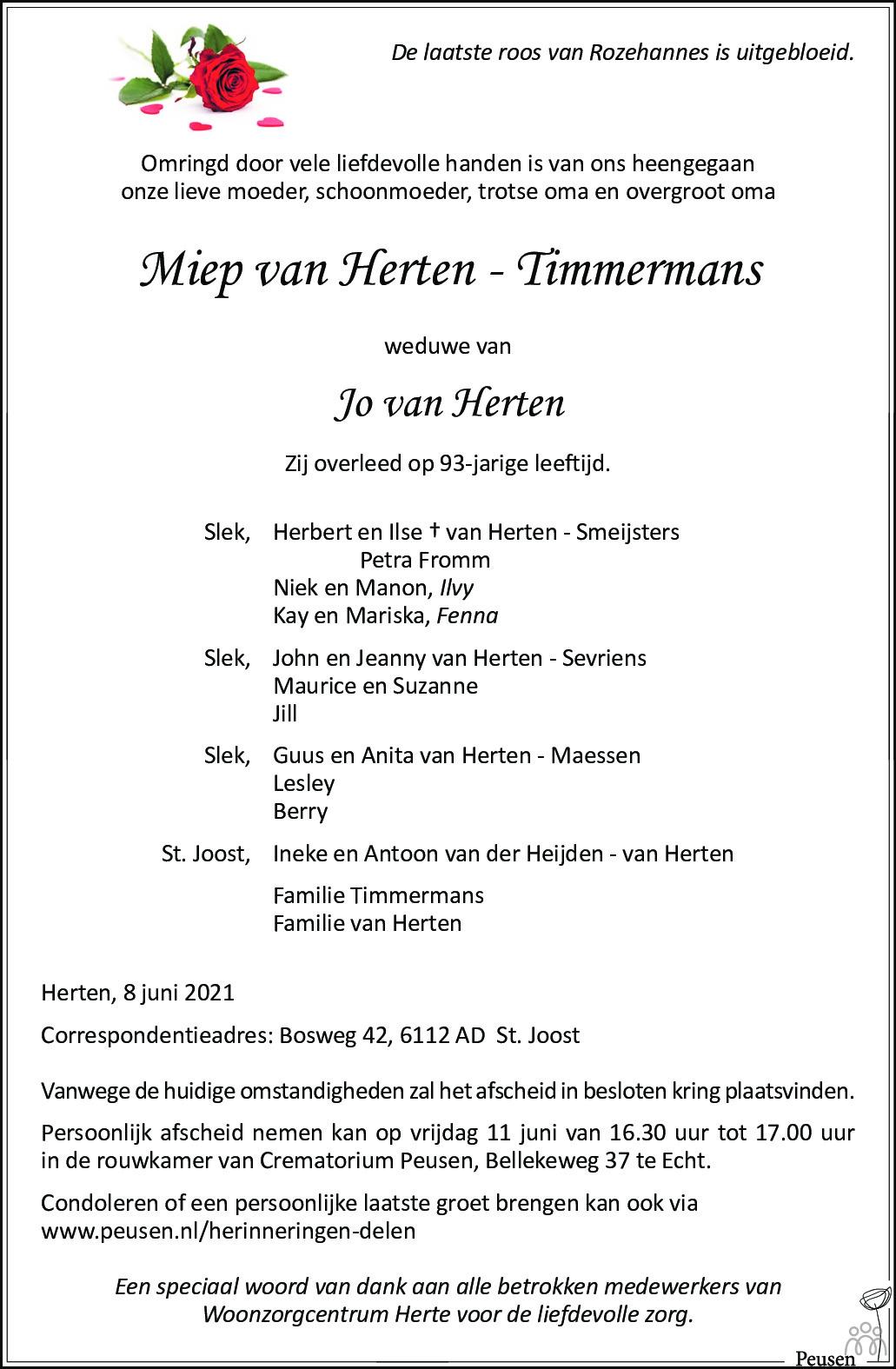 Overlijdensbericht van Miep van Herten-Timmermans in De Limburger