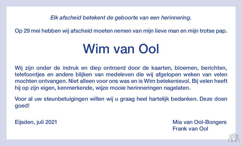 Overlijdensbericht van Wim van Ool in De Limburger