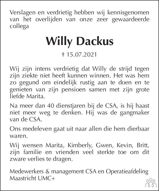 Overlijdensbericht van Willy Dackus in De Limburger