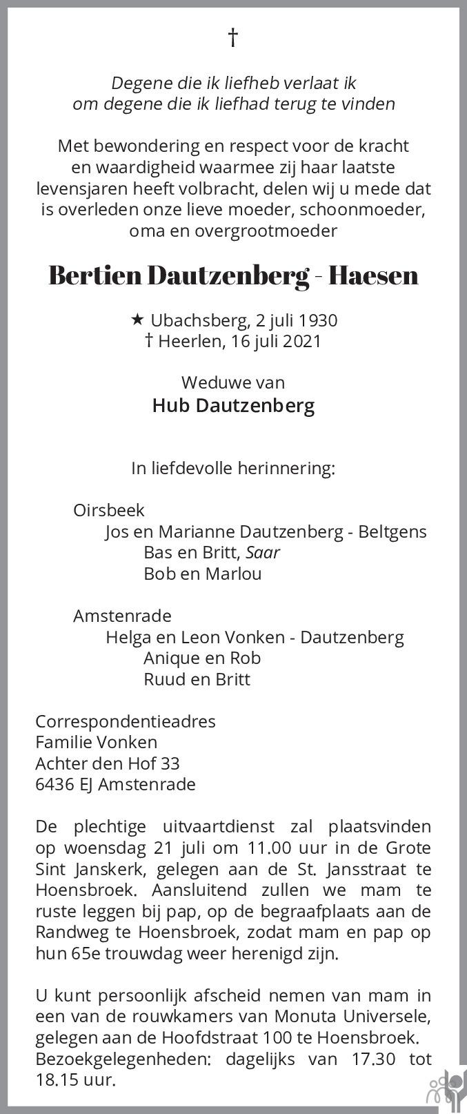 Overlijdensbericht van Bertien Dautzenberg-Haesen in De Limburger