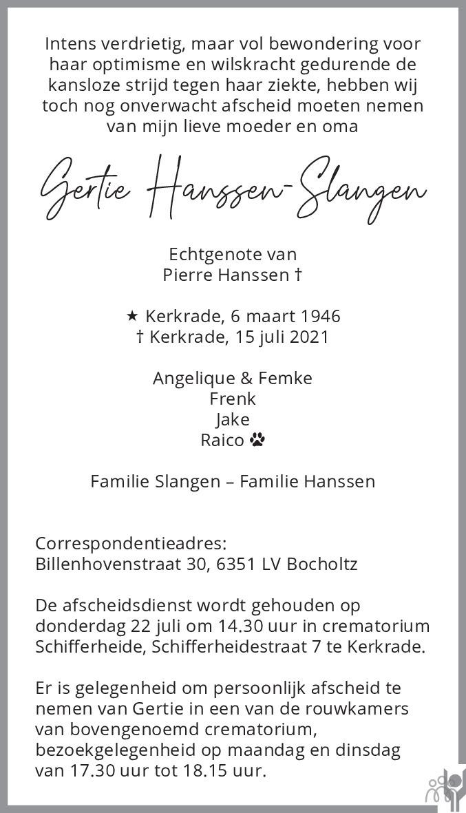 Overlijdensbericht van Gertie Hanssen-Slangen in De Limburger