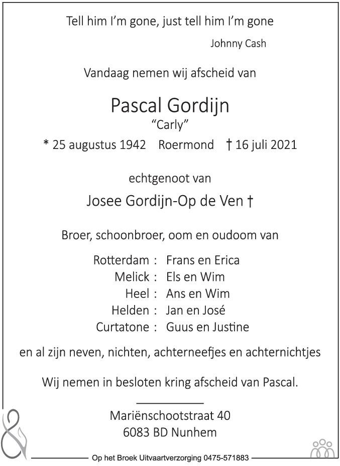Overlijdensbericht van Pascal (Carly) Gordijn in De Limburger