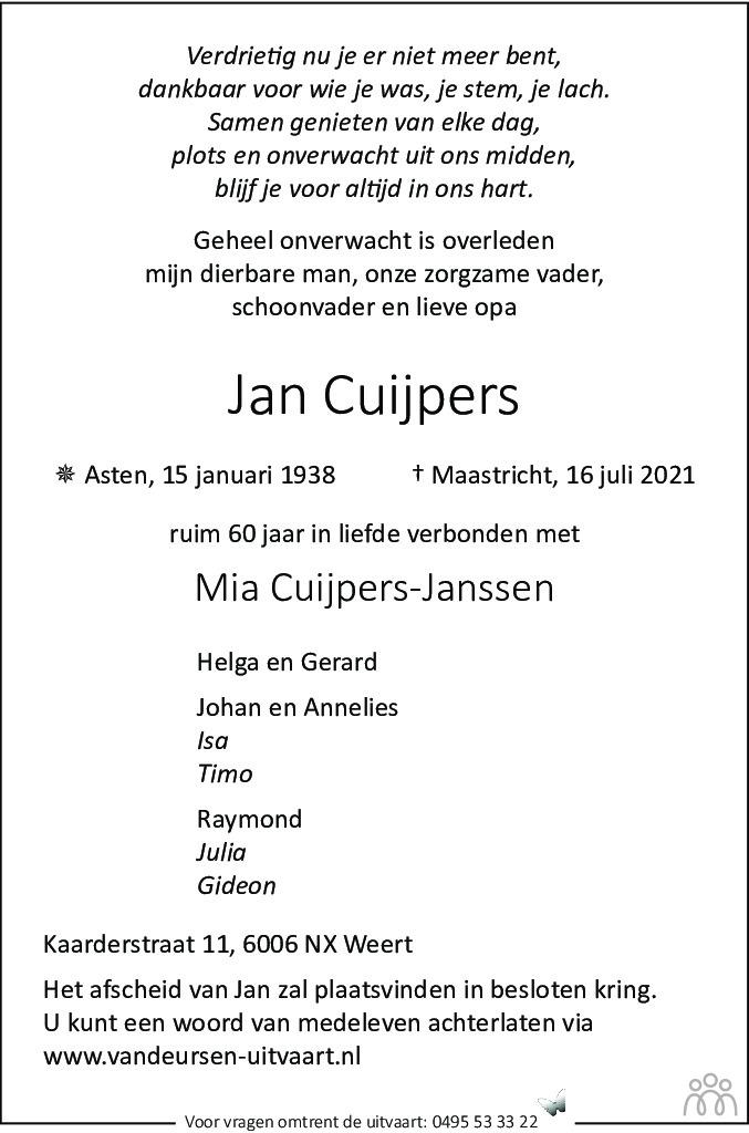 Overlijdensbericht van Jan Cuijpers in De Limburger