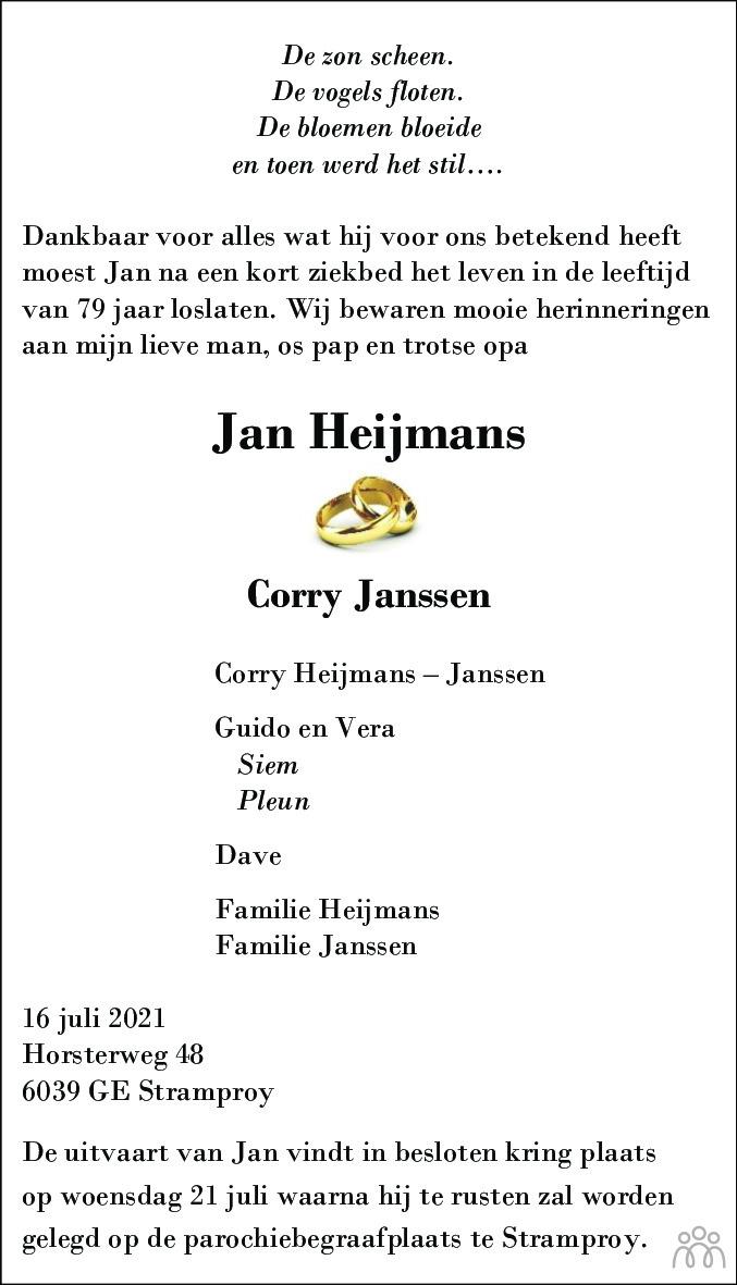 Overlijdensbericht van Jan Heijmans in De Limburger
