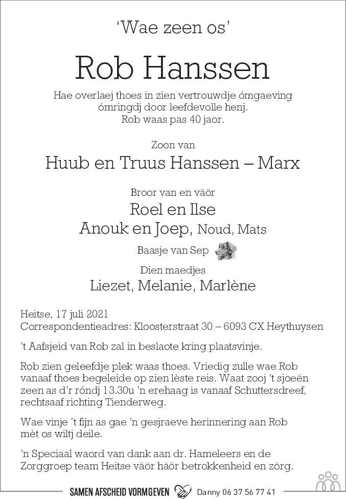 Overlijdensbericht van Rob Hanssen in De Limburger