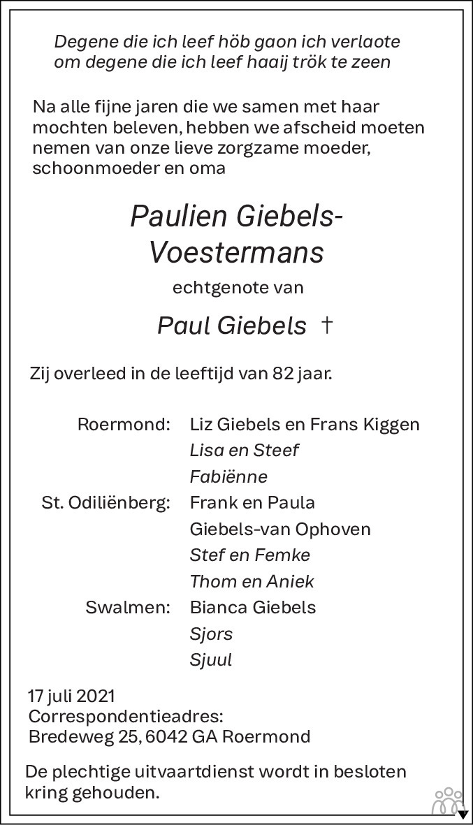 Overlijdensbericht van Paulien Giebels-Voestermans in De Limburger