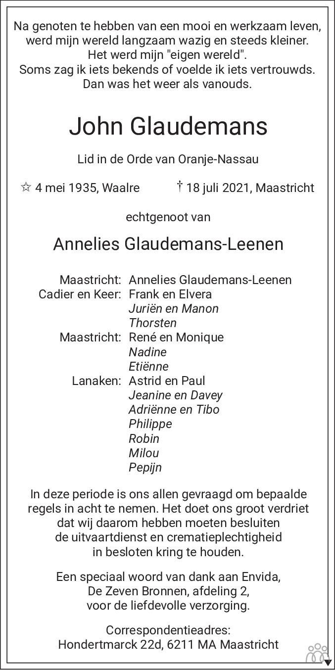 Overlijdensbericht van John Glaudemans in De Limburger