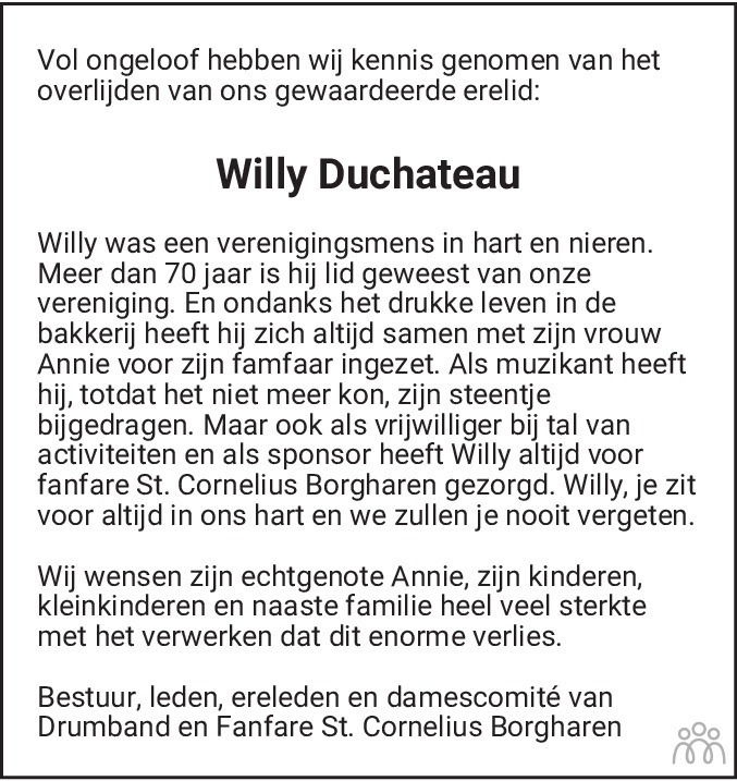 Overlijdensbericht van Willy Duchateau in De Limburger
