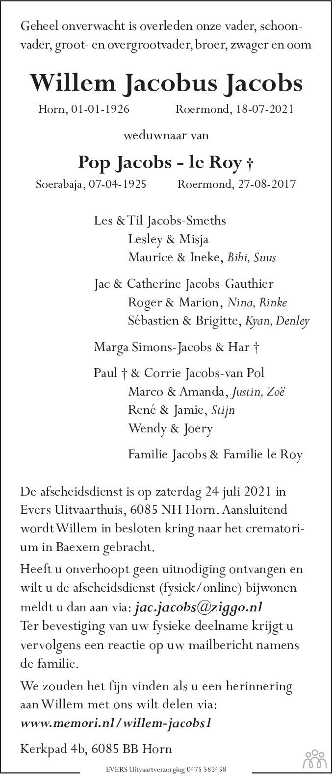 Overlijdensbericht van Willem Jacobus Jacobs in De Limburger