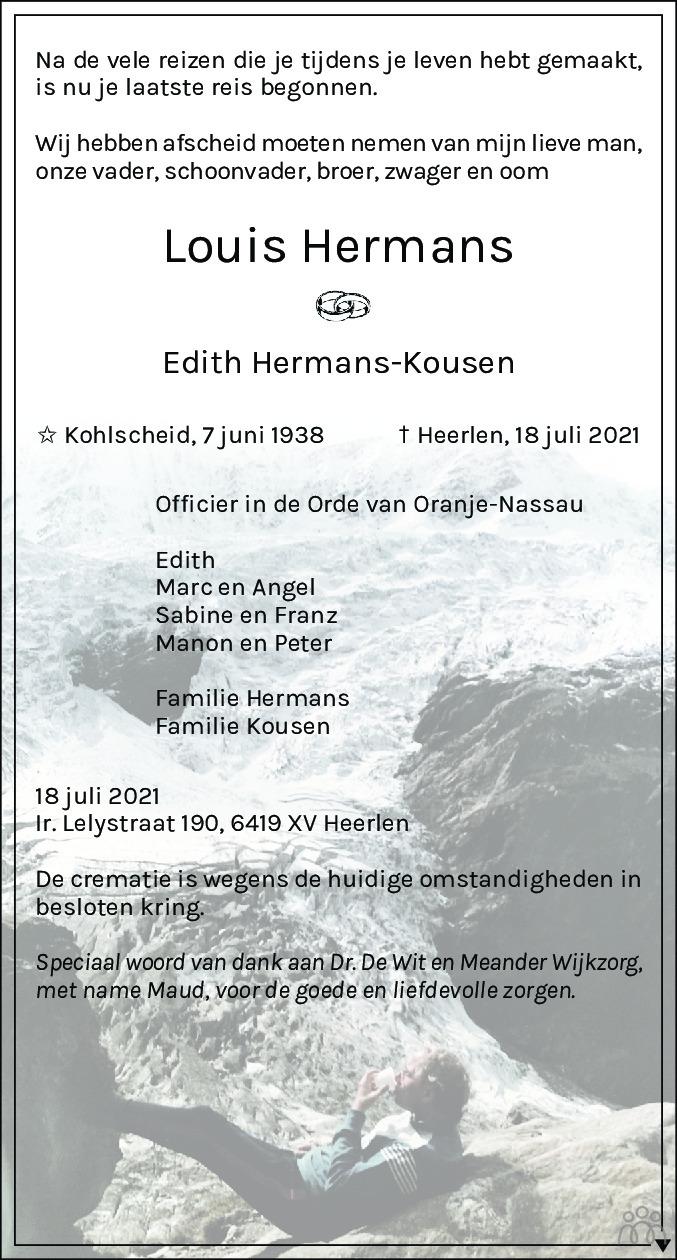 Overlijdensbericht van Louis Hermans in De Limburger