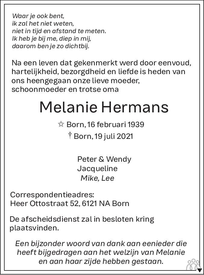 Overlijdensbericht van Melanie Hermans in De Limburger