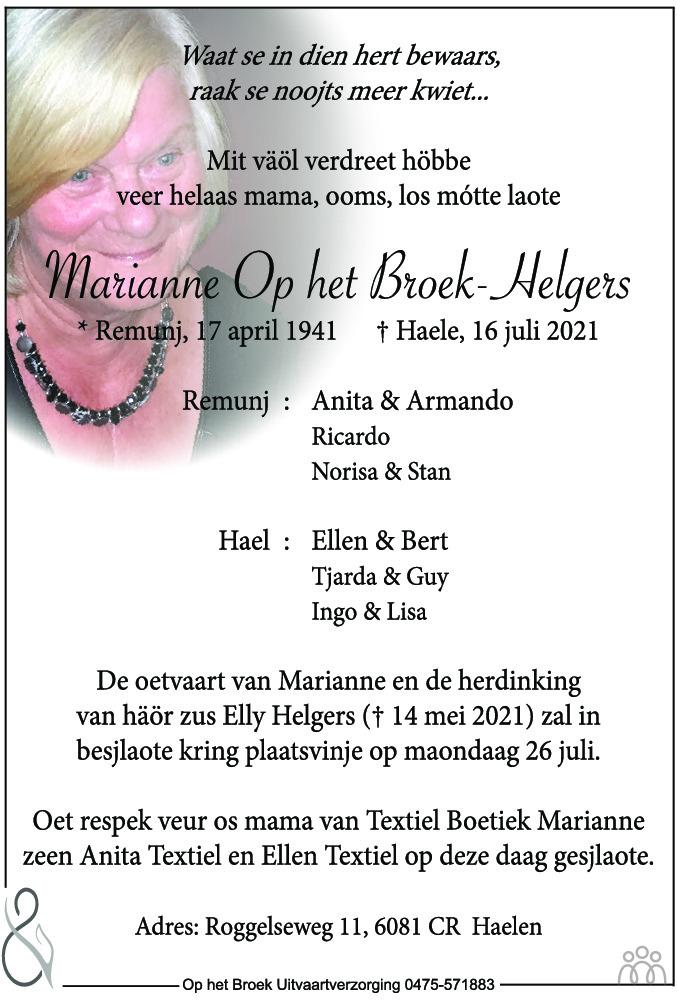 Overlijdensbericht van Marianne Op het Broek-Helgers in De Limburger