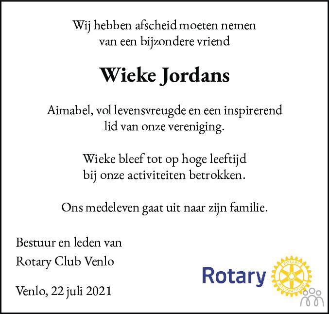 Overlijdensbericht van Wieke Jordans in De Limburger
