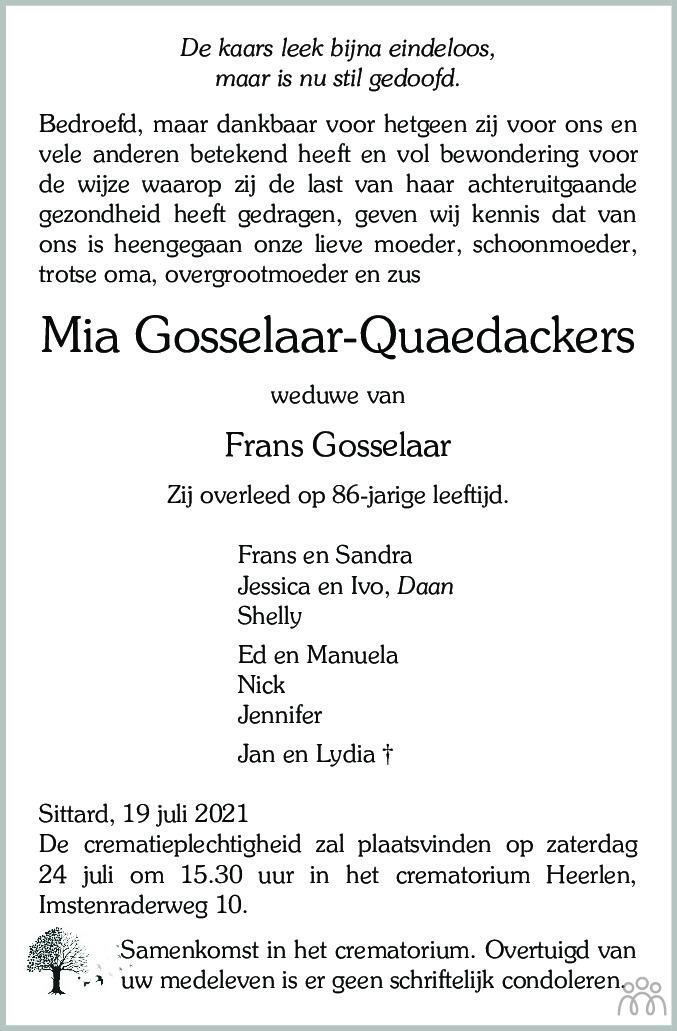 Overlijdensbericht van Mia Gosselaar-Quaedackers in De Limburger