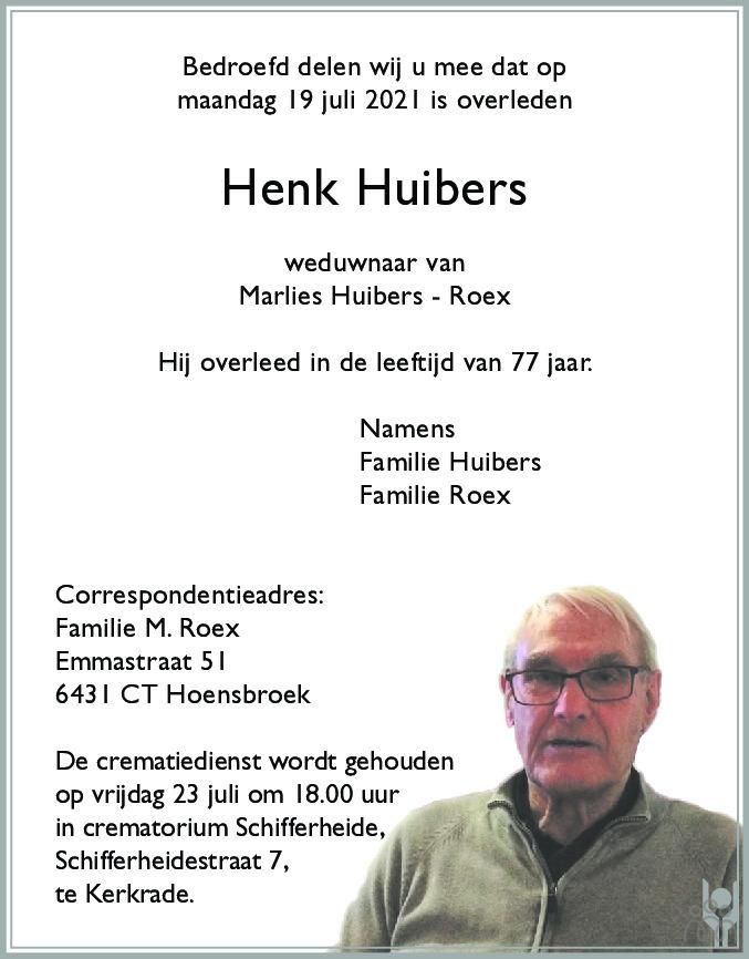 Overlijdensbericht van Henk Huibers in De Limburger