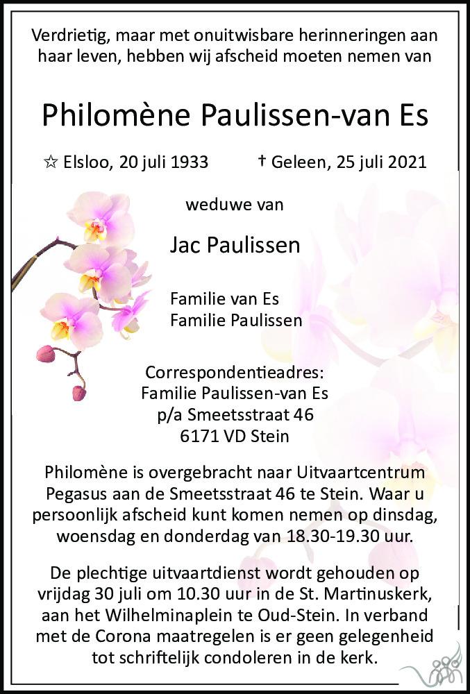 Overlijdensbericht van Philomène Paulissen-van Es in De Limburger