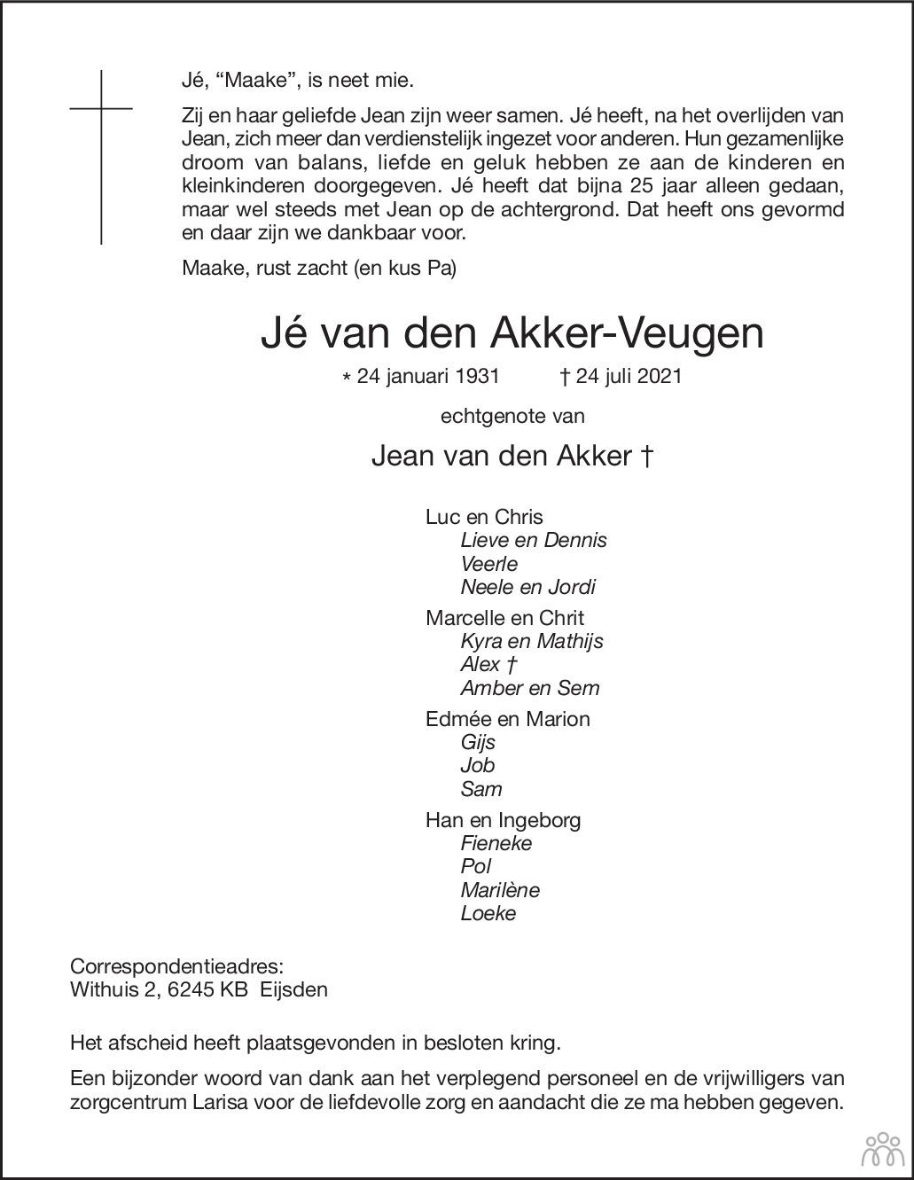 Overlijdensbericht van Jé van den Akker-Veugen in De Limburger