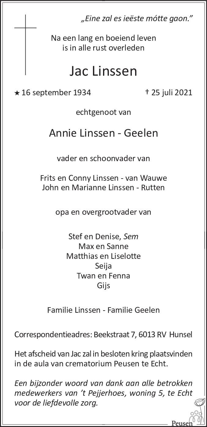 Overlijdensbericht van Jac Linssen in De Limburger