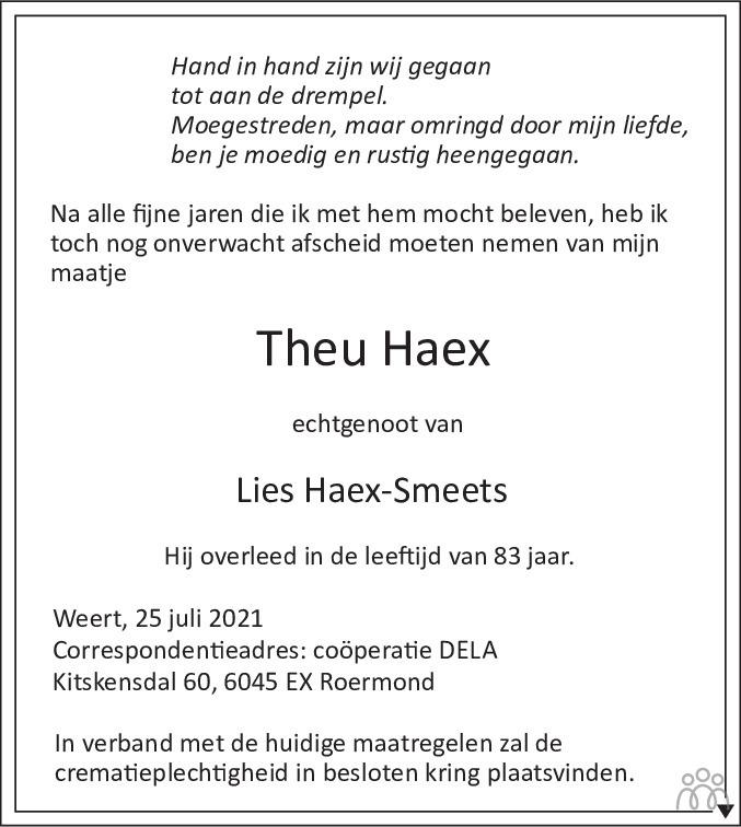Overlijdensbericht van Theu Haex in De Limburger