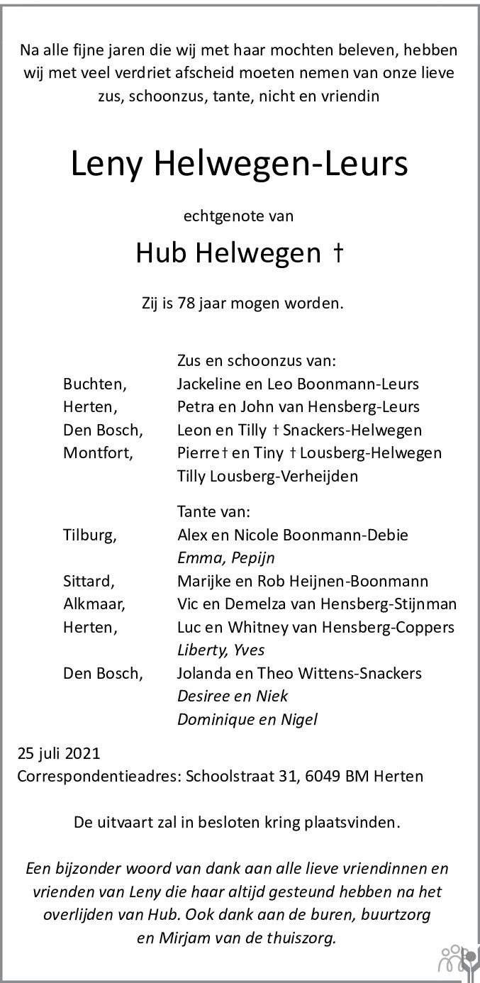 Overlijdensbericht van Leny Helwegen-Leurs in De Limburger