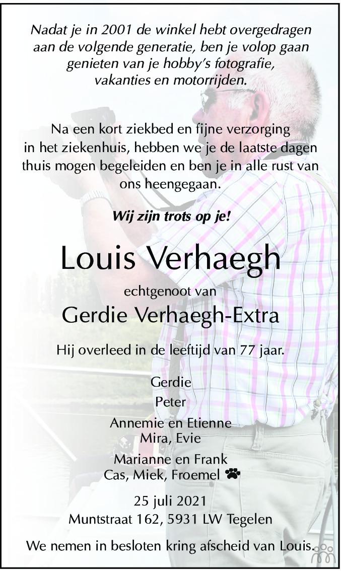 Overlijdensbericht van Louis Verhaegh in De Limburger