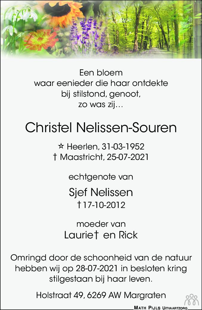 Overlijdensbericht van Christel Nelissen-Souren in De Limburger