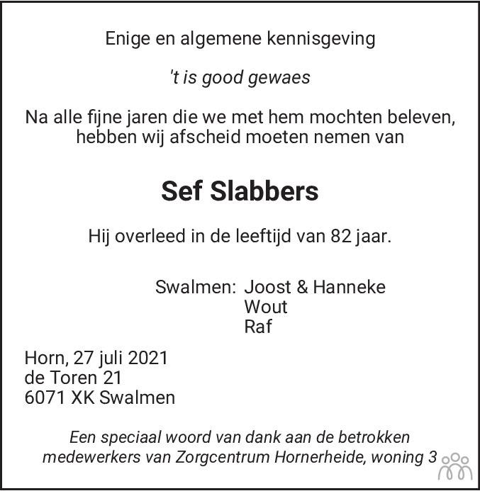 Overlijdensbericht van Sef Slabbers in De Limburger