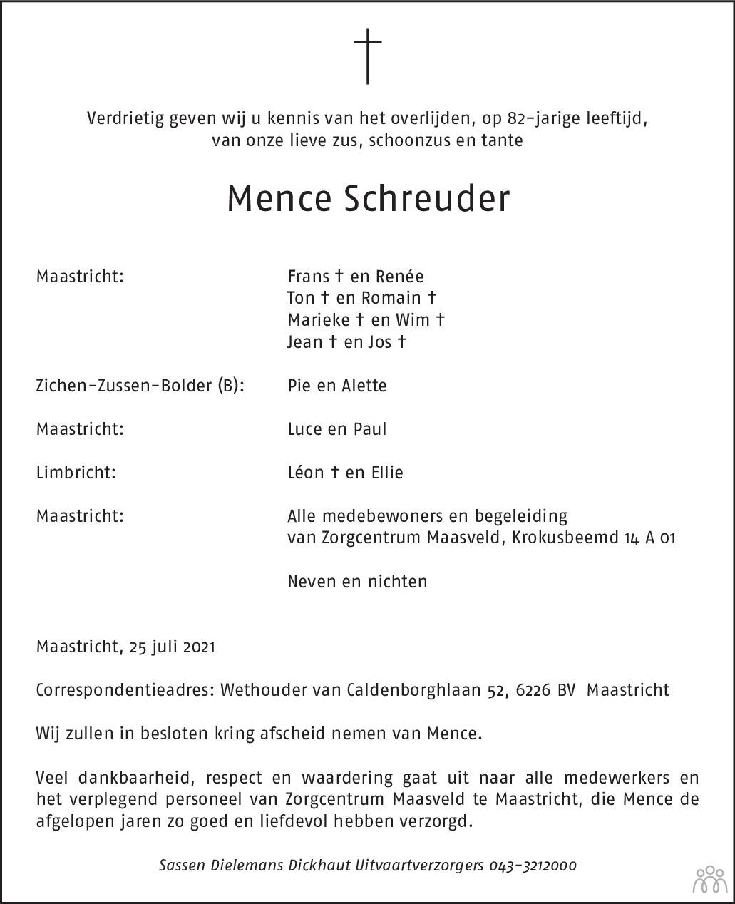 Overlijdensbericht van Mence Schreuder in De Limburger