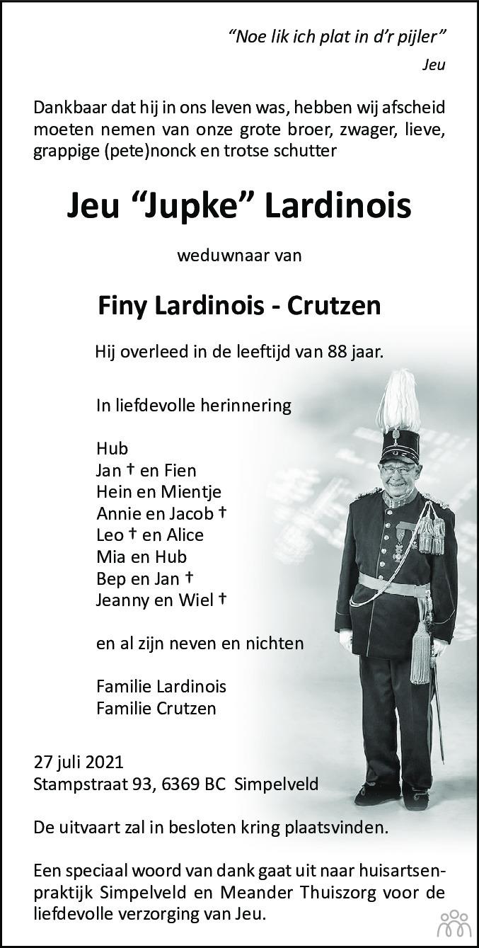 Overlijdensbericht van Jeu Lardinois in De Limburger