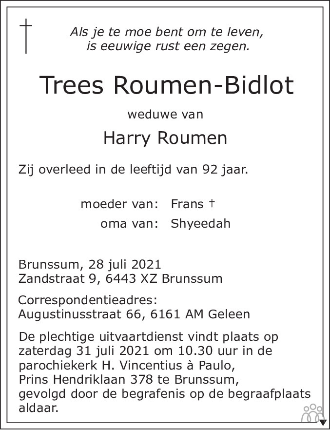 Overlijdensbericht van Trees Roumen-Bidlot in De Limburger