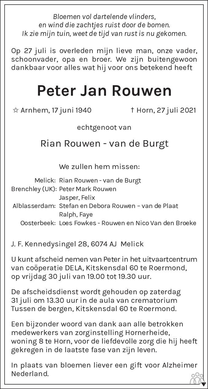 Overlijdensbericht van Peter Jan Rouwen in De Limburger