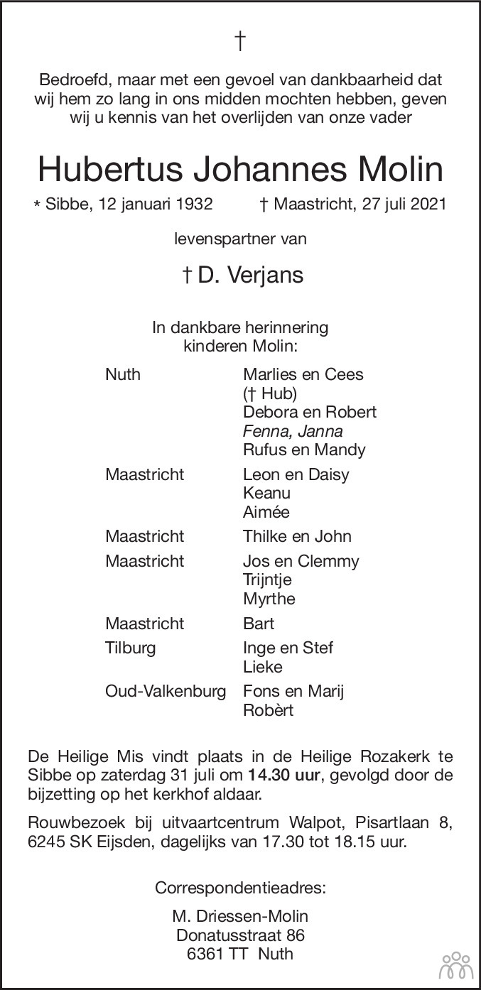 Overlijdensbericht van Hubertus Johannes Molin in De Limburger