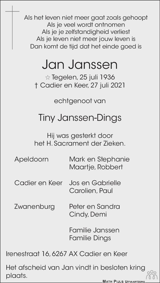 Overlijdensbericht van Jan Janssen in De Limburger