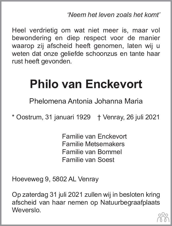 Overlijdensbericht van Philo van Enckevort in De Limburger