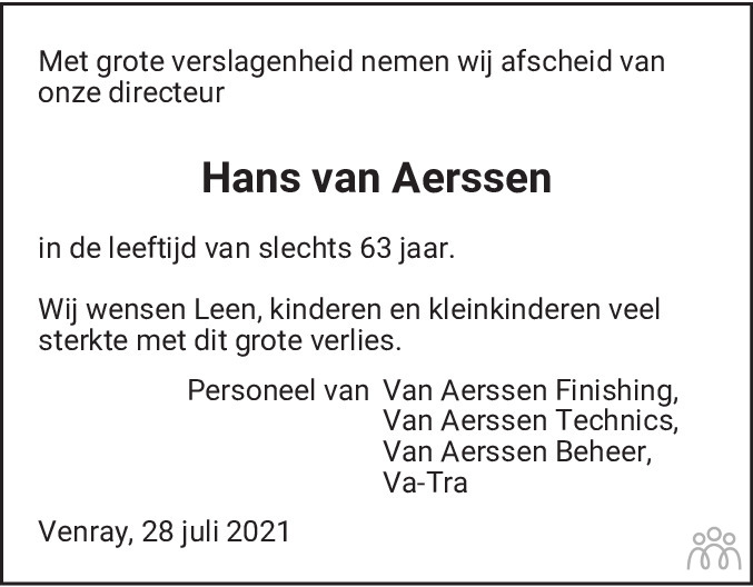 Overlijdensbericht van Hans van Aerssen in De Limburger