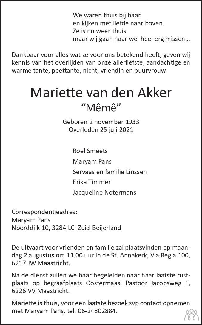 Overlijdensbericht van Mariette (Mêmê) van den Akker in De Limburger