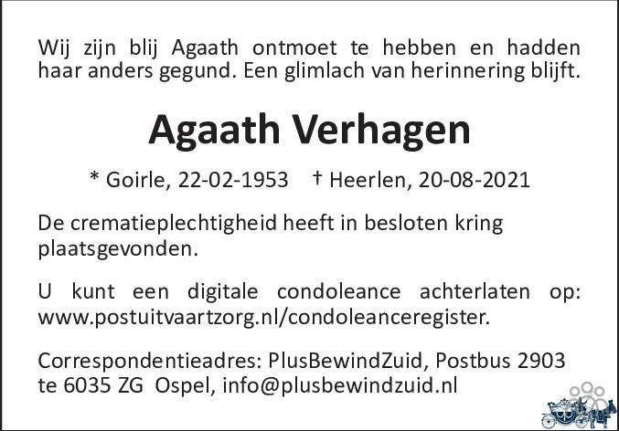 Overlijdensbericht van Agaath Verhagen in De Limburger